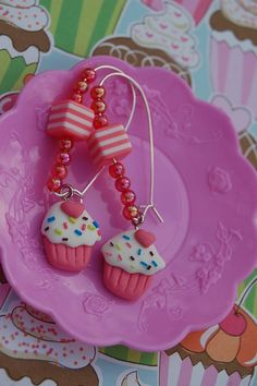 Cupcake Earrings Valentine's Day from sparklingbagcandy.com $12.99  with free USA shipping