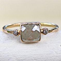 Ooooohhhhh... I love this ring. Diamond Ring Rose Cut Diamond Slice in 14K by SamanthaMcIntosh