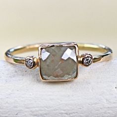 Ooooohhhhh... I love this ring. Diamond Ring Rose Cut Diamond Slice in 14K by SamanthaMcIntosh