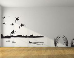Mallard Duck Hunting Wall Decal- 8ft Large Hunter and dog duck ...