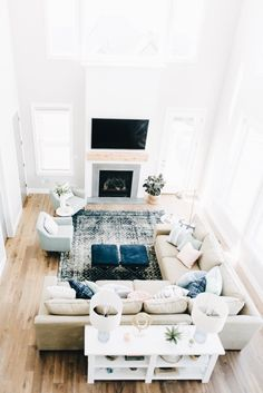 Having small living room can be one of all your problem about decoration home. To solve that, you will create the illusion of a larger space and painting your small living room with bright colors c… Room Arrangement Ideas, Living Room Arrangements, Small Living Rooms, Home Living Room, Living Room Designs, Apartment Living, Living Room With Sectional, Living Area, Living Room Ottoman Ideas