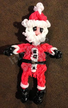 Santa - using Rainbow Loom - Click for tutorial To purchase go to http://www.etsy.com/shop/IzzaliciousDesigns