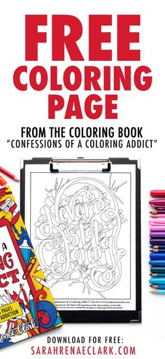"""Get this free adult coloring page from the """"Color Your World"""" adult coloring book by Sarah Renae Clark. Visit the website for more free coloring pages. Easy Coloring Pages, Printable Adult Coloring Pages, Coloring Books, Free Printable Artwork, Free Printables, Diy Bottle, Bottle Crafts, Amazing Crafts, Free Planner"""