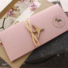 Orchid Boarding Pass Wedding Invitation (Italy)