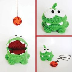 Om Nom, from Cut The Rope - Amigurumi Crochet by CyanRoseCreations