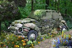 Garden design:Stone Age Rock Car
