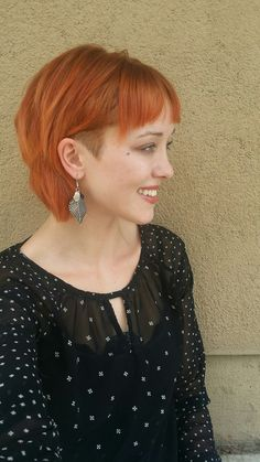 Copper hair color and undercut #undercut #bob #copperhair #fallhair #davinescolor