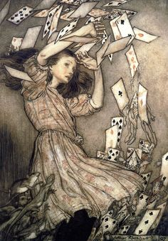 the climax of Alice in Wonderland by Arthur Rackham. If you want to know where most fantasy art of the Century comes from, look to Arthur Rackham, most particularly Alan Lee and Brian Froud Arthur Rackham, Lewis Carroll, Art And Illustration, Vintage Illustrations, We All Mad Here, Film Tim Burton, Alice In Wonderland Illustrations, Chesire Cat, Adventures In Wonderland