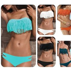 Zicac Fashion Women's Sexy Tassel Padded Bandeau Fringe Bikini Set Beauty Women Favor 2pcs Padded boho fringe top strapless bikini Swimwear 6 Colors to Choice - http://cheune.com/a/3146676346659661