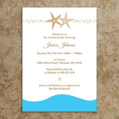 Beach Bridal Shower Invitation / Starfish Bridal Shower Invitation / Beach Invitation / Baby Shower Invitation / DIY Printable Invitation. $18.00, via Etsy.  we could do everything beachy...you need to pick a theme - Jessica...