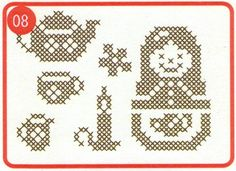 These clever cross stitch stamp sets allow you to easily transfer cross stitch designs to fabric for stitching. Or, use them on other media (paper, wood, etc.) for a faux cross stitch design! Stamps are unmounted and designed to be used with a clear block (available at most craft shops). We recommend Tsukineko VersaCraft inks for stamping on fabric. (Be sure to read instructions for heat setting the ink on your project.) This package includes 6 individual stamps: teapot, mug, mini pitcher…