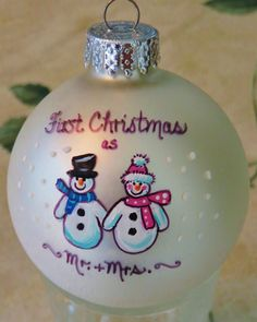 First Married Christmas Ornament by FancifulForgetMeNots on Etsy https://www.etsy.com/listing/252160512/first-married-christmas-ornament