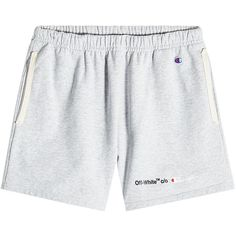 Off-White x Champion Cotton Shorts ($320) ❤ liked on Polyvore featuring men's fashion, men's clothing, men's shorts, grey, mens grey shorts, organic cotton men's clothing, mens longer length shorts, mens long shorts and mens cotton shorts