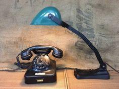 sparen25.infoAntike Ebolicht Banker/Schreibtischlampe mit Emailschirm Art-Deco Von 1920sparen25.com