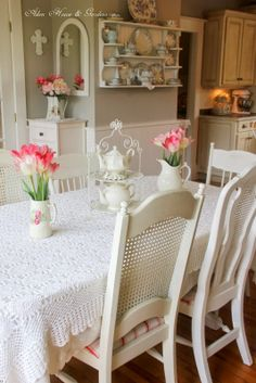 What a Beautiful SPRING Picture - Love the Arrangement of the Teapots on Table!