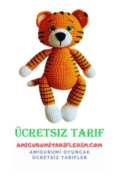 Cute Tigers, Black Thread, Stuffed Animal Patterns, Single Crochet, Free Pattern, Tigger, Teddy Bear, Knitting, Disney Characters