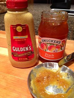 Try mixing mustard with jelly - great with spicy sausage like Conecuh! We used brown spicy mustard and peach preserves! Conecuh Sausage Recipe, Spicy Sausage, Sausage Recipes, Cooking Recipes, Peach Preserves, Marinade Sauce, Good Food, Yummy Food, Food Time