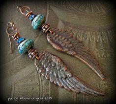 Wing Earrings, Lampwork Glass, Cottage Chic, Urban, Copper, Earthy, Primitive, Organic, Rustic, Copper, Beaded Earrings