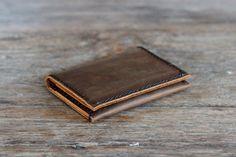 Men's Leather Card Wallet - Ultra Slim Minimalist Rustic Bifold Design - 010 - JooJoobs Original - Wallets for Men