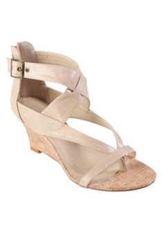 Brinley Co. Natural Strappy Low Wedge Sandal