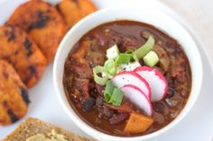 Vegetarian sweet potato chili recipe by Cookie and Kate