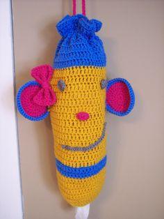 Crochet Monkey Plastic Bag Dispenser