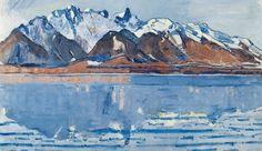 Ferdinand Hodler :: Thuner See mit Stockhornkette (Detail), um 1913, Öl auf Leinwand, 59,5 x 89 cm, Privatsammlung