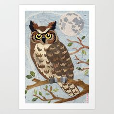 Owl Moon Art Print by gnarlycat - $18.00