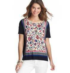 Loft - LOFT Tops - Floral Vine and Stripe Border Short Sleeve Top