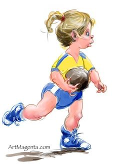 Handball kids Handball Players, European Men, Celebrity Caricatures, Gesture Drawing, Sport, Figure Drawing, Crossfit, Disney Characters, Fictional Characters