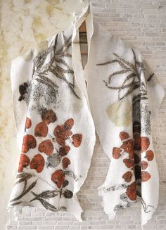 Silk+Felt+Scarf+Eco+Printed+with+Floral+Pattern+Pure+by+ShellenD