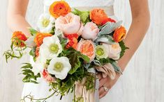 This bouquet—filled with ranunculus, garden roses, anemones, and jasmine vine—is stunningly original.