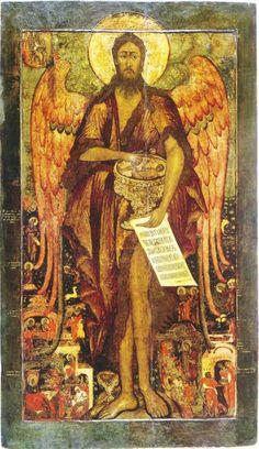 Святой Иоанн Предтеча Ангел пустыни, со сценами жития. Последняя четверть XVII века. Кострома. Дерево, левкас, темпера; ковчег. 143,2х80 см.