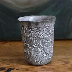 Handmade lace motif porcelain mug