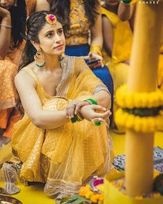 Why should haldi ceremony be neglected? A bride must look equally chic for her haldi and gota jewellery can jazz up the look, for sure MUA: Photography: Bride: Decor: # Indian Wedding Outfits, Bridal Outfits, Bridal Dresses, Indian Weddings, Indian Outfits, Mehndi Outfit, Mehndi Dress For Bride, Mehndi Ceremony, Haldi Ceremony