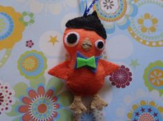 Felt Orange Beatnik Bird Ornament by Pepperland by Pepperland