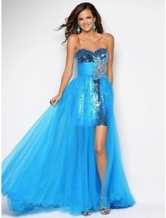 Gorgeous Sweetheart Neckline Tulle and Sequins High Low Length Prom Dresses