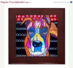 25% Off Everything- Boxer Art Framed Ceramic Tile Heather Galler Print of Painting - Dog Art Ready to Hang, Signed