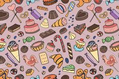 Doodle pattern sweets. Patterns. $5.00