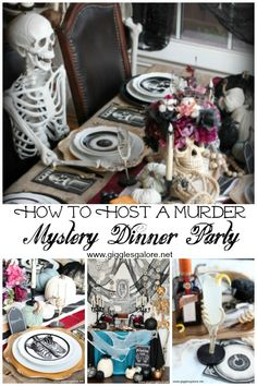 Murder mystery parties are an excellent way to engage and entertain friends this Halloween. Learn how to host a Murder Mystery Dinner Party that is to die for! Mystery Dinner Party, Dinner Party Games, Mystery Parties, Halloween Party, Halloween Dinner Parties, Halloween Foods, Halloween Pumpkins, Halloween Ideas, Murder Mystery Games