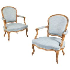 Louis XV Pair of French Armchairs or Fauteuils, Stamped Jean-Jacques Pothier