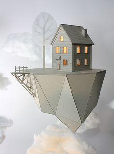 Netherland-based artist and filmmaker Vera van Wolferen creates beautiful cardboard lamps, postcards, and stop-motion animations. Cardboard Model, Cardboard Art, Cardboard Design, Floating Island, Folded Book Art, Book Folding, Paper Houses, Wooden Houses, Zeppelin