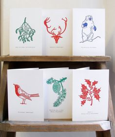 Linocut Christmas Cards // Handmade // Pack of 6 by InkshedPress
