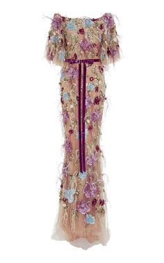 Feather Embroidered Flutter Sleeve Dress by Marchesa Beautiful Evening Gowns, Beautiful Dresses, Marchesa Fashion, Marchesa Dresses, Off Shoulder Long Dress, Dress Long, Pink Silk Dress, Party Dress Outfits, Unconventional Wedding Dress