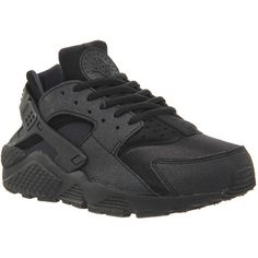 Nike Air Huarache ($91) ❤ liked on Polyvore featuring shoes, sneakers, nike, huarache, trainers, black, unisex sports, black shoes, black sports shoes and black leather trainers