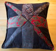 Union jack cushion/pillow cover made from silk neckties, envelope back.
