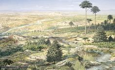 Landscape during the Triassic period - The Dinosaurs roamed the fields of nature. A beautiful landscape