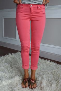 These pants are bright and fun! Jegging style and stretchy! True to size, but if you want more room go...
