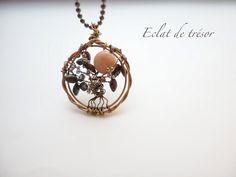 Eclat de tresor - Sautoir Arbre de vie cuivre et pierre opale rose