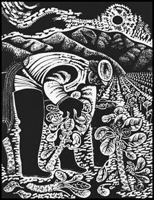 Emmy Lou Packard, Harvest, c 1950 woodcut